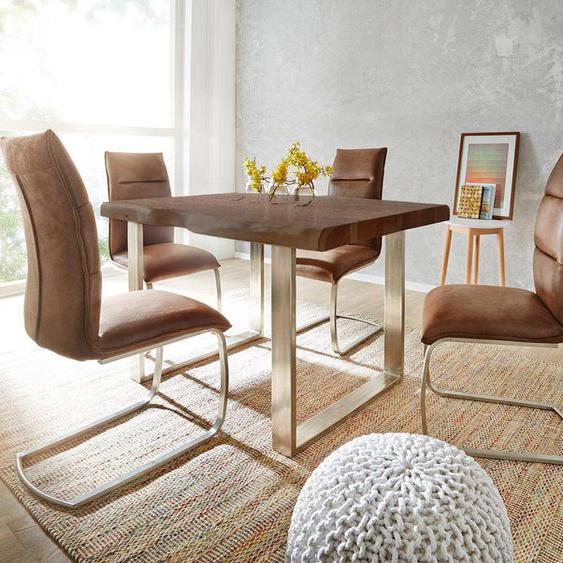 Baumtisch Live-Edge 180x90 Akazie Braun Platte 5,5 cm Gestell schmal, Esstische, Baumkantenmöbel, Massivholzmöbel, Massivholz