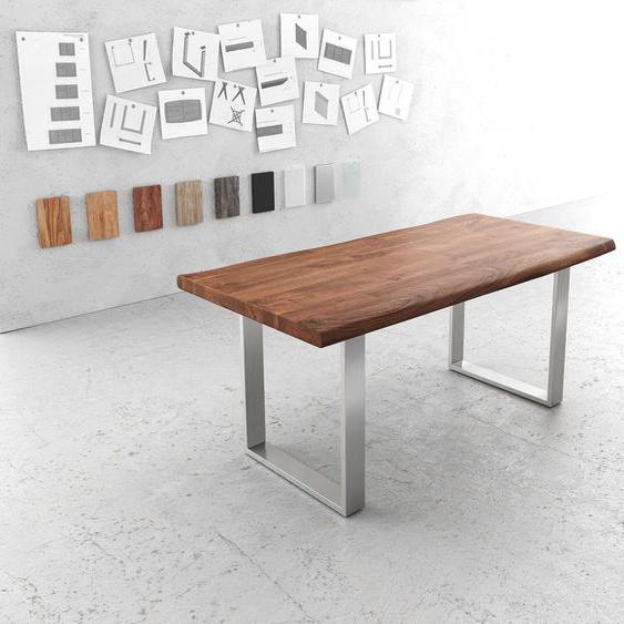 Esstisch Edge 180x90 XL Akazie Braun Edelstahl Schmal Live-Edge, Esstische, Baumkantenmöbel, Massivholzmöbel, Massivholz