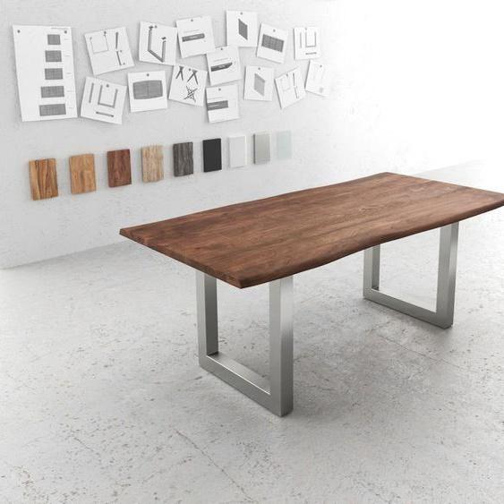 Baumtisch Live-Edge 200x100 Akazie Braun Platte 3,5cm Gestell breit, Esstische, Baumkantenmöbel, Massivholzmöbel, Massivholz