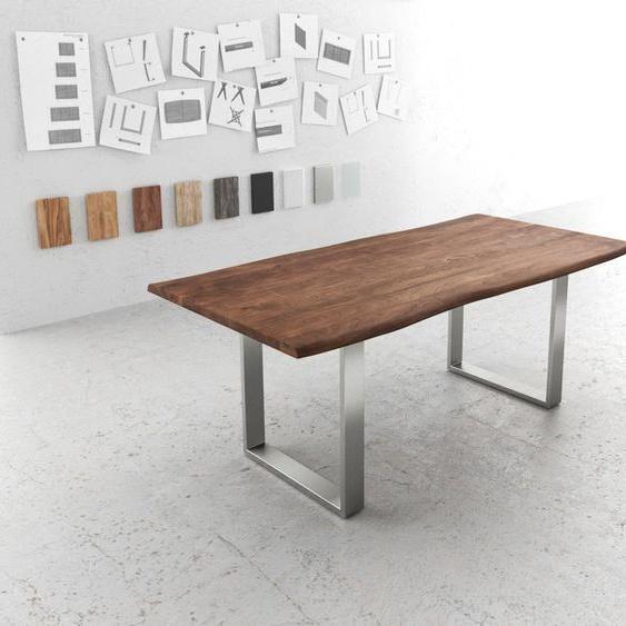 Baumtisch Live-Edge 200x100 Akazie Braun Platte 3,5cm Gestell schmal, Esstische, Baumkantenmöbel, Massivholzmöbel, Massivholz
