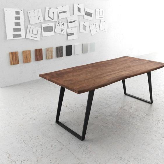 Baumtisch Live-Edge 200x100 Akazie Braun Platte 3,5cm Gestell schräg schwarz, Esstische, Baumkantenmöbel, Massivholzmöbel, Massivholz