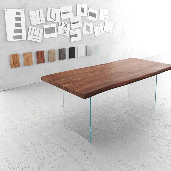 Baumtisch Live-Edge 200x100 Akazie Braun Platte 5,5 cm Glasbeine, Esstische, Baumkantenmöbel, Massivholzmöbel, Massivholz