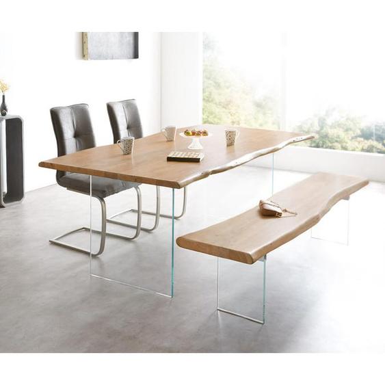 Baumtisch Live-Edge 200x100 Akazie Natur Platte 3,5 cm Glasbeine, Esstische, Baumkantenmöbel, Massivholzmöbel, Massivholz