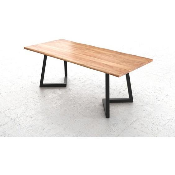 Baumtisch Live-Edge 200x100 Akazie Natur Platte 3,5cm Gestell Recanto Schwarz, Esstische, Baumkantenmöbel, Massivholzmöbel, Massivholz