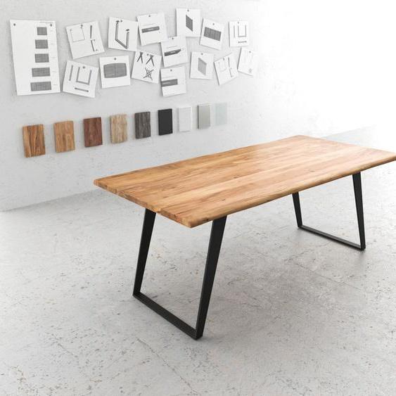 Baumtisch Live-Edge 200x100 Akazie Natur Platte 3,5cm Gestell schräg schwarz, Esstische, Baumkantenmöbel, Massivholzmöbel, Massivholz