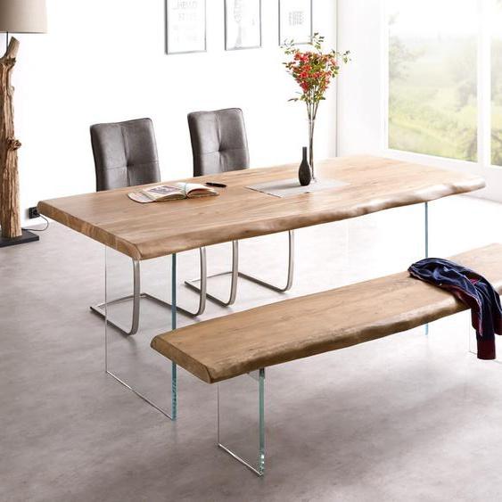 Baumtisch Live-Edge 200x100 Akazie Natur Platte 5,5 cm Glasbeine, Esstische, Baumkantenmöbel, Massivholzmöbel, Massivholz