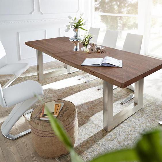 Baumtisch Live-Edge 260x100 Akazie Braun Platte 5,5cm Gestell breit, Esstische, Baumkantenmöbel, Massivholzmöbel, Massivholz