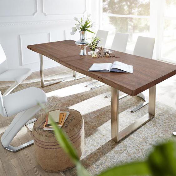 Baumtisch Live-Edge 260x100 Akazie Braun Platte 5,5cm Gestell schmal, Esstische, Baumkantenmöbel, Massivholzmöbel, Massivholz