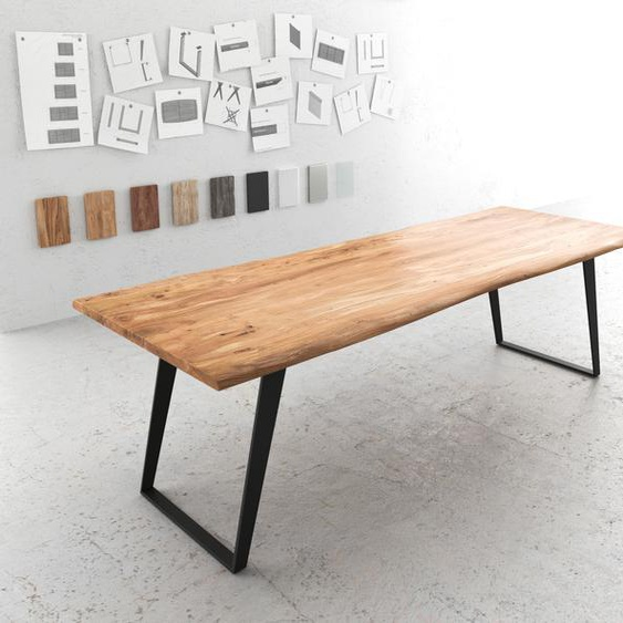 Baumtisch Live-Edge 260x100 Akazie Natur Platte 3,5cm Gestell schräg schwarz, Esstische, Baumkantenmöbel, Massivholzmöbel, Massivholz