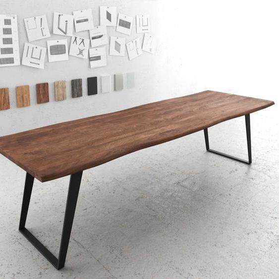 Baumtisch Live-Edge 300x100 Akazie Braun Platte 3,5 cm Gestell schräg schwarz, Esstische, Baumkantenmöbel, Massivholzmöbel, Massivholz