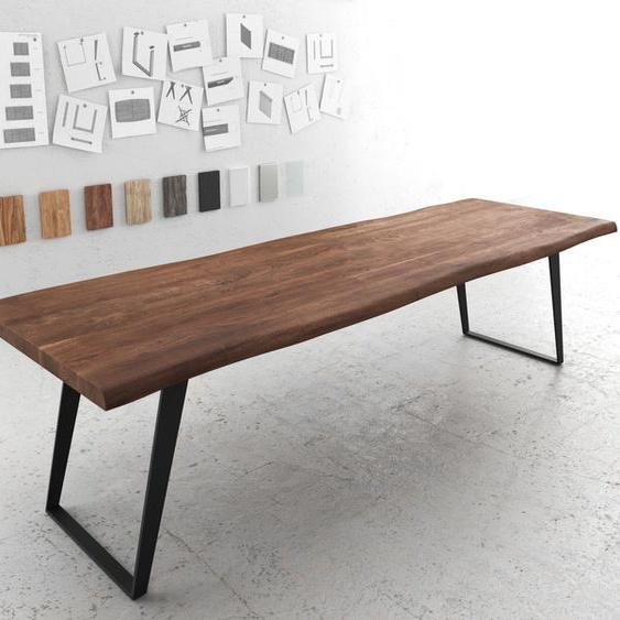 Baumtisch Live-Edge 300x100 Akazie Braun Platte 5,5cm Gestell schräg schwarz, Esstische, Baumkantenmöbel, Massivholzmöbel, Massivholz