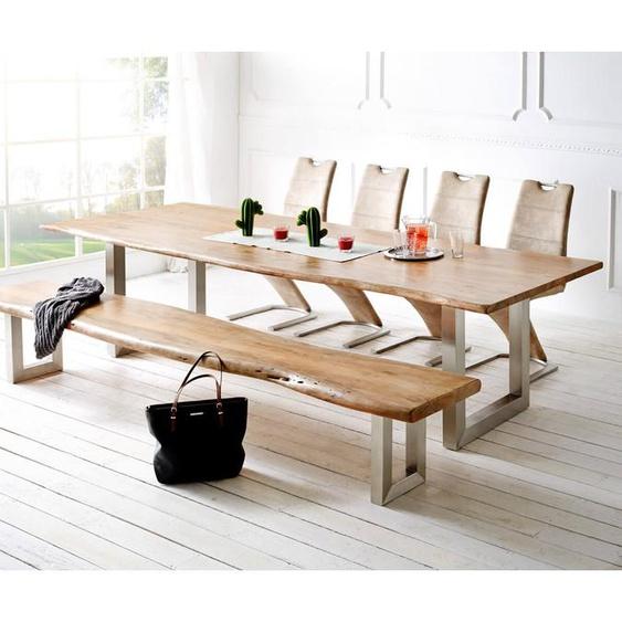 Baumtisch Live-Edge 300x100 Akazie Natur Platte 3,5 cm Gestell breit, Esstische, Baumkantenmöbel, Massivholzmöbel, Massivholz