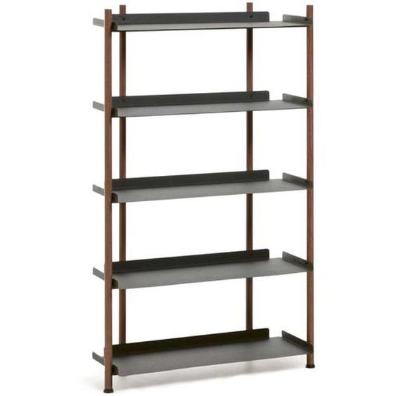 Bücherregal in Schwarz und Walnussfarben Loft Design