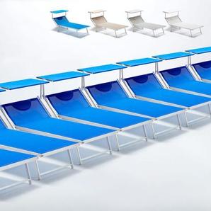 20 Sonnenliegen aus Aluminium professionell für Strand und Meer GRANDE ITALIA XL | Blau - BEACH AND GARDEN DESIGN