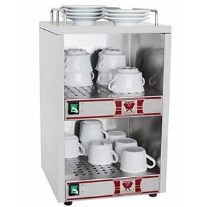 Beeketal BTW-2 Profi Gastro Tassenwärmer elektrisch für bis zu ca. 72 Tassen (je nach Tassengröße), 2 Fächer getrennt regelbar, konstante Wärme mit nur 2 x 70W, (B/T/H): ca. 320 x 320 x 550 mm