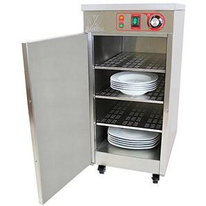 Beeketal BTW-60 Profi Gastro Edelstahl Tellerwärmer elektrisch mit 3 Einlegeböden, Temperatur stufenlos ca. 30-85 °C einstellbar, mobiler Wärmeschrank 1-türig auf Rollen mit Feststellbremse