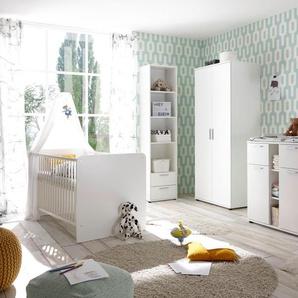 Begabino Babyzimmer-Komplettset Bibo, (Set, 3 St.), Bett + Wickelkommode 2-trg. Schrank Einheitsgröße weiß Baby Baby-Möbel-Sets Babymöbel