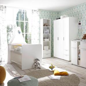 Begabino Babyzimmer-Komplettset Bibo, (Set, 3 St.), Bett + Wickelkommode 3-trg. Schrank Einheitsgröße weiß Baby Babybetten Babymöbel Möbel sofort lieferbar