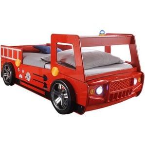 BEGABINO Feuerwehrauto-Bett ,Rot ,Kunststoff
