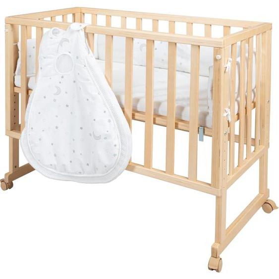 Beistellbett »safe asleep® 3-in-1 Sternenzauber, natur«, 50x86x90 cm (BxHxT), roba®, beige, Material MDF, Schichtholz