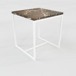 Beistelltisch Marmor, Brauner Emperador - Eleganter Nachttisch: Hochwertige Materialien, einzigartiges Design - 42 x 46 x 42 cm, Komplett anpassbar