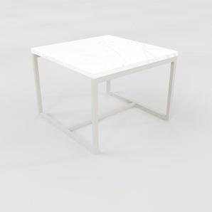 Beistelltisch weißer Carrara, Marmor - Eleganter Nachttisch: Hochwertige Materialien, einzigartiges Design - 42 x 32 x 42 cm, Komplett anpassbar