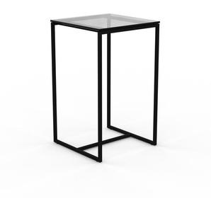 Beistelltisch Rauchglas Schwarz klar - Eleganter Nachttisch: Hochwertige Materialien, einzigartiges Design - 42 x 70 x 42 cm, Komplett anpassbar