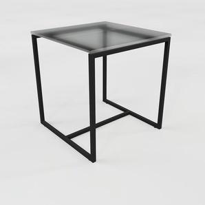Beistelltisch Rauchglas Schwarz satiniert - Eleganter Nachttisch: Hochwertige Materialien, einzigartiges Design - 42 x 45 x 42 cm, Komplett anpassbar