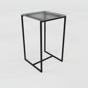 Beistelltisch Rauchglas Schwarz satiniert - Eleganter Nachttisch: Hochwertige Materialien, einzigartiges Design - 42 x 70 x 42 cm, Komplett anpassbar
