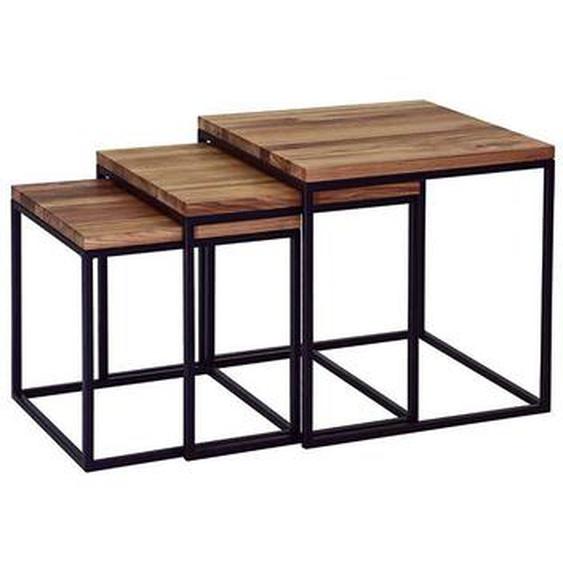 Beistelltisch Set aus Asteiche Massivholz Metall Schwarz (3-teilig)