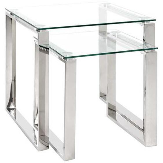 Beistelltisch Set aus Glas und Edelstahl quadratisch (2-teilig)