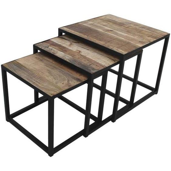 Beistelltisch Set aus Mangobaum Massivholz und Eisen quadratisch (3-teilig)
