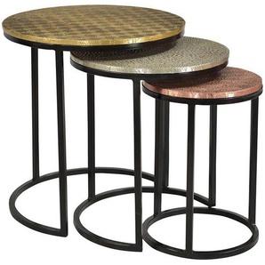Beistelltisch Set aus Metall runde Tischform (3-teilig)