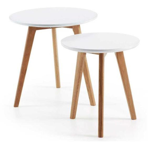 Beistelltisch Set in Weiß und Eichefarben runde Tischform (2-teilig)