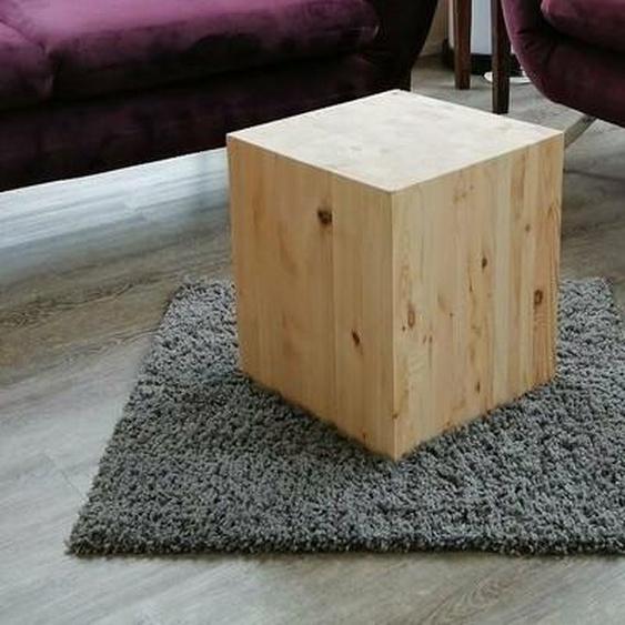 Beistelltisch Wohnzimmertisch Vollmassiv Holzwürfel Kiefer