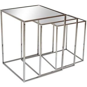 Beistelltische aus Glas und Edelstahl Bügelgestell poliert (dreiteilig)