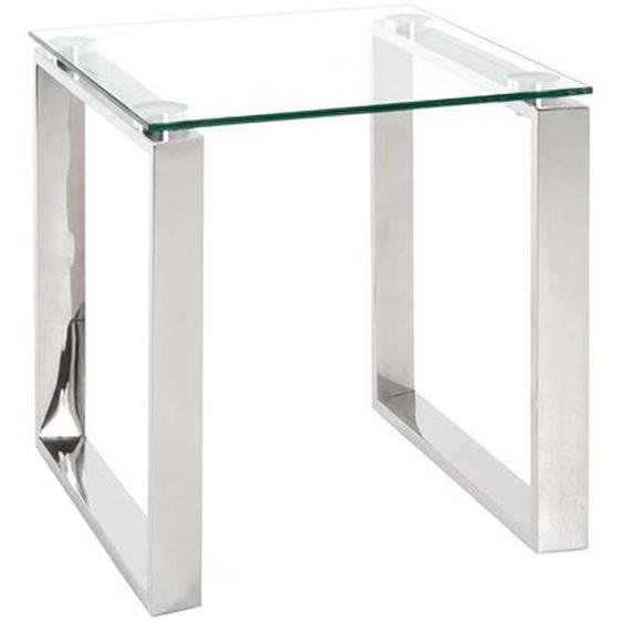 Beitisch aus Glas und Edelstahl Bügelgestell