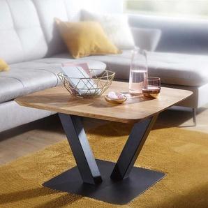 Beitisch aus Wildeiche Massivholz Metall S�ulengestell in Schwarz