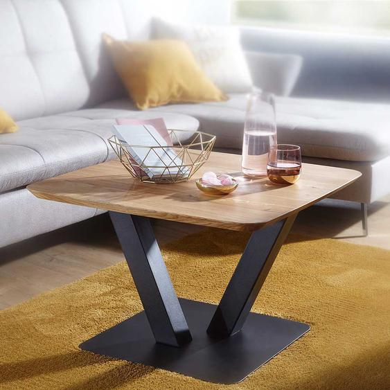 Beitisch aus Wildeiche Massivholz Metall Säulengestell in Schwarz