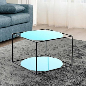 Beitisch in hell Blau und Schwarz runden Glasplatten