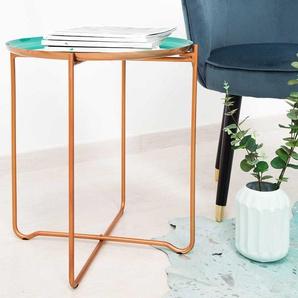 Beitisch in Mintgrün und Kupferfarben rund