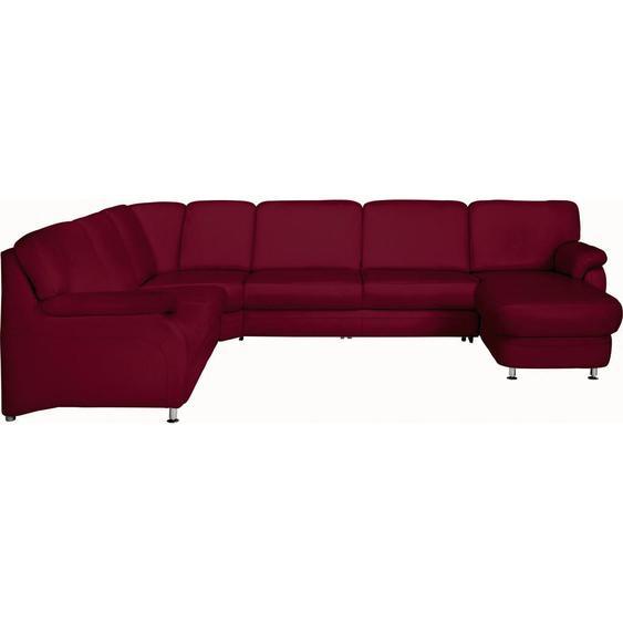 Beldomo Premium Wohnlandschaft Rot Echtleder , Leder , 6-Sitzer , 239 cm