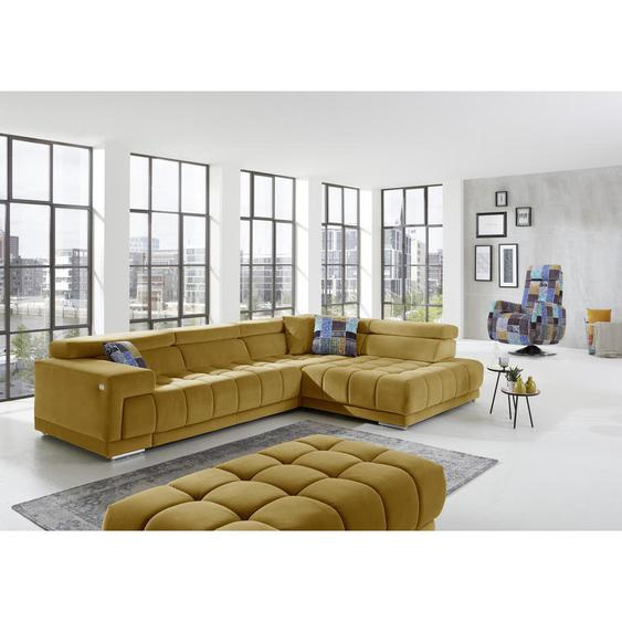Beldomo Style Ecksofa Gelb Mikrofaser , Textil , 5-Sitzer , 222 cm