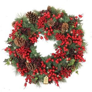 Beleuchteter Weihnachtskranz Woodland Berry 60 cm
