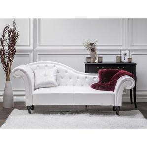 Chaiselongue Linksseitig Weiß Kunstleder Glamourös Mit Zierkissen