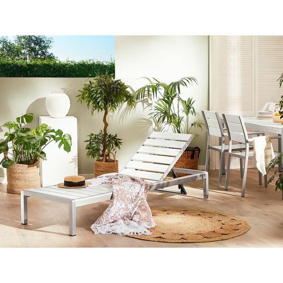 Beliani - Gartenliege Weiß Silber Kunstholz Aluminium Verstellbar Modern Terrasse Balkon
