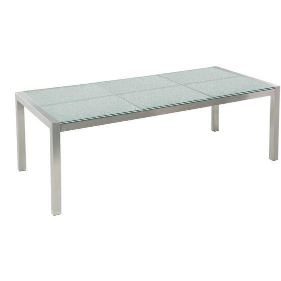 Beliani - Gartentisch silber Sicherheitsglas Eis-crashglas Edelstahl 180 x 90 cm geteilte Tischplatte modern Outdoor