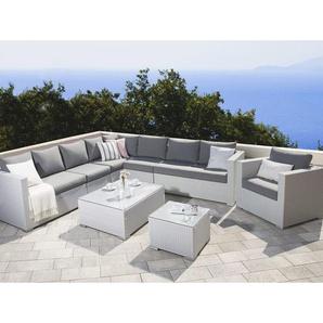 Lounge 8er Set Weiß in Rattanoptik Grauen Bezüge Mit Sitzkissen Dekorativ Elegant Modern