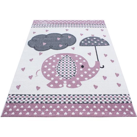 Bennjen Kinderteppich 160/230 cm Weiß, Rosa , Textil , Elefant , 160 cm