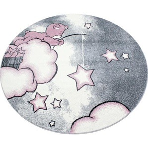 Bennjen: Kinderteppich, Textil, Grau, Weiß, Pink